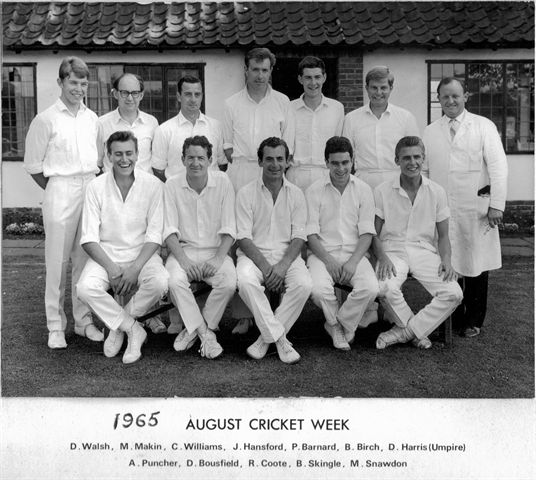 The first Sawbridgeworth Cricket Week was held in 1964, and this team from the year after contains some club legends, including a young John Hansford, Tony Puncher and Barry Birch.