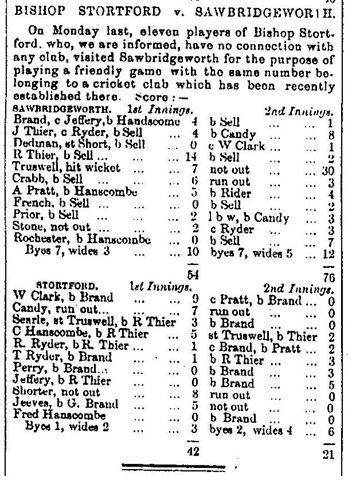 This is the earliest known Sawbridgeworth C. C. scorecard (and probable first ever match), as reported in the Herts and Essex Observer. It was a match played at Sawbridgeworth on Monday July 28th 1862 against 'Eleven players of Bishop's Stortford.' Sawbridgeworth won by 67 runs.