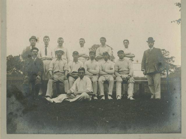 A very early picture from c.1900. This picture was taken at Pishiobury Park, next to Pishiobury House, which was Sawbridgeworth's home ground until the First World War. The person at the far left on the front row is Club Secretary Arthur Morris, of 32 Knight Street. This photo was donated by his grandchildren Robin and Joy Marshall in June 1995.